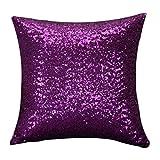 Internet Paillettes Sequins canapé lit Home Café Decor taie d'Oreiller Carré Housse de Coussin Invisible Fermeture à glissière (40cm*40cm, Violet)
