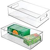 mDesign (lot de 2) boite de rangement de bureau – boite empilable rectangulaire en plastique pour articles de bureau – boite