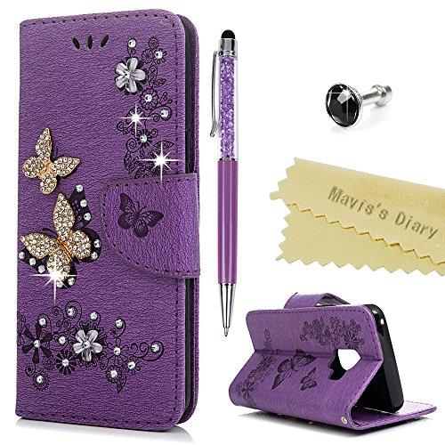 S9 Hülle Case Mavis's Diary Handyhülle Samsung Galaxy S9 Glitzer Strass Schmetterling Leder Tasche Flipcase Cover Schutzhülle Skin Ständer Schale Bumper Magnetverschluss Ledertasche Handtasche-Violett (Violetta Handtasche)