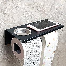 Sayayo Soporte de papel higiénico doble Soporte de rollo montado en la pared, Acabado de acero inoxidable mate negro, EGG8200-B