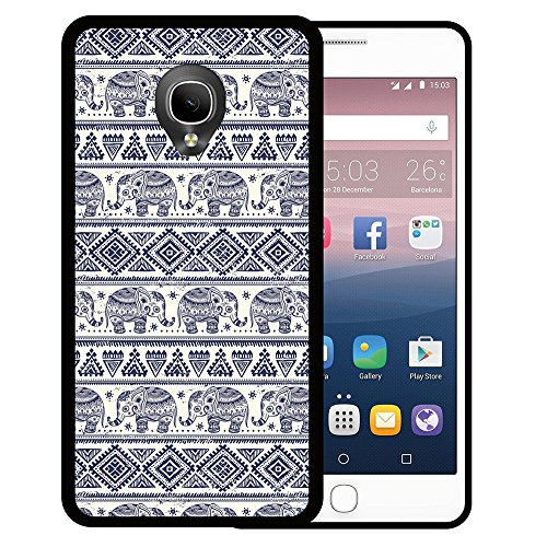 WoowCase Alcatel OneTouch Pop Up Hülle, Handyhülle Silikon für [ Alcatel OneTouch Pop Up ] Blauer Elefant Handytasche Handy Cover Case Schutzhülle Flexible TPU - Schwarz