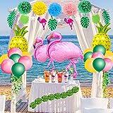 SPECOOL Hawaiian Tropical Dekoration, 52PC Beach Party Supplies mit bunten Ananas Flamingo Ballons Palm Simulation verlässt Banner Papier Pom Poms für Luau Party Dschungel Sommer Tischdekorationen - 6