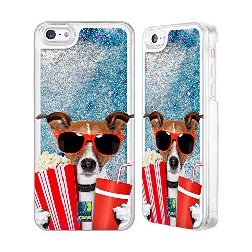 Head Case Designs Hund Im Kino Komische Tiere Himmelblau Handyhülle mit flussigem Glitter für Apple iPhone - 5c Case-kino Iphone