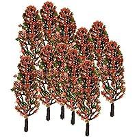 20pcs 3,3 Pulgadas Conjunto de Paisaje De Trenes Paisaje De árboles Verde Con Flores De Durazno Escala 1/200