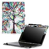 MoKo Lenovo Yoga Book Hülle - PU Leder Tasche Ständer Schale Folio Smart Case Cover mit Stift-Schleife/Standfunktion für Lenovo Yoga Book YB1-X90F, YB1-X91F 10.1 Zoll 2-in-1 Tablet/Laptop, Glück Baum