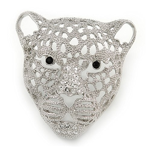 Statement vergoldet Silber, Kristall, strukturiert Cheetah Kopf Brosche-45mm L -