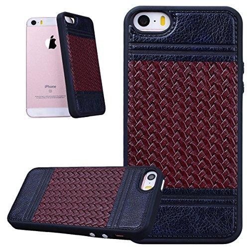HB-Int Hülle für iPhone SE / 5S / 5 Handytasche Weben Muster Silikon Weich Schutzhülle Nähen mit PU Leder Etui Schale Protective Back Case - Roségold / Rot Royal Blau / Braun