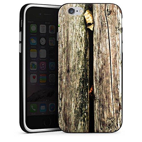 Apple iPhone 5s Housse Étui Protection Coque Planches Marais Marécage Mousse Look bois Housse en silicone noir / blanc
