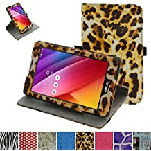 """Rotating Coque Pour Asus ZenPad Z170C,Mama Mouth 360 Degree Rotating PU Cuir debout Fonction Housse Coque Étui Couverture pour 7"""" Asus ZenPad C 7.0 Z170C Z170CG Z170MG Android Tablette, Leopard Marron"""