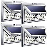 LITOM Solarleuchte 3rd Generation, 24 Große LED Wandleuchte, 3 Modi Sensor Bewegungsmelder Wetterfest für Haus, Garten, Terrasse 4 Stück