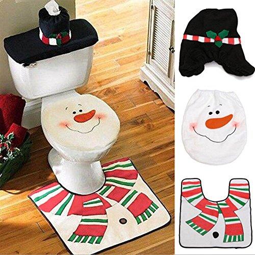 hibote Nuovo Decorazioni di Natale felice Santa Toilet Seat Cover + Tappeto Bathroom Nero