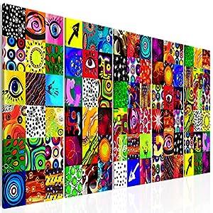 decomonkey Bilder Abstrakt 225x90 cm 5 Teilig Leinwandbilder Bild auf Leinwand Vlies Wandbild Kunstdruck Wanddeko Wand Wohnzimmer Wanddekoration Deko modern bunt Abstrakt Kunst