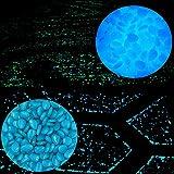 100Pcs Glow in the Dark leuchtende Kopfstein-Kiesel-Steine Glühen für Garten Gehweg Aquarium (Blau)