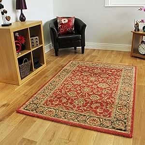 tapis traditionnel sans perte rouge et beige ziegler 240cmx340cm 7pi10 x 11pi12. Black Bedroom Furniture Sets. Home Design Ideas