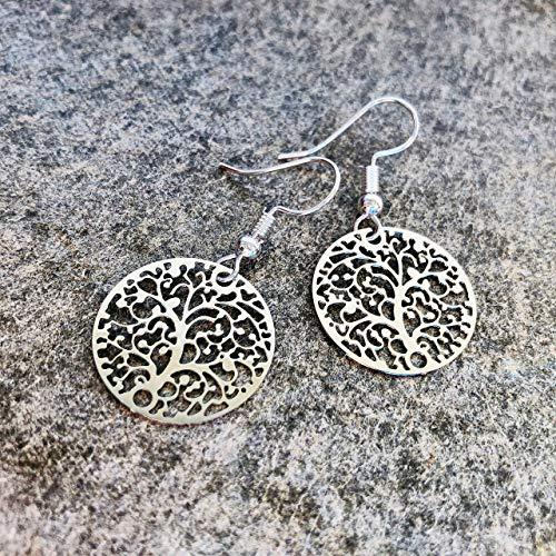Ohrringe SILVER TREE Baum des Lebens versilbert handmade einzigartig Muster modern Damen Schmuck Design filigran keltisch Jugendstil