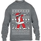 Kids Weihnachten Geschenk Dab vom Weihnachtsmann Kinder Pullover Sweatshirt L 134/146 (9-11J) Grau
