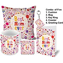 Aart Best Mom Ever Printed Ceramic Coffee Mug with Coaster, Cushion, Key Ring and Greeting Card (Red)