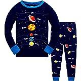 Conjunto de pijama para niños y niñas que brilla en la oscuridad, unicornio, sirena, ropa de dormir de manga larga, pijama de