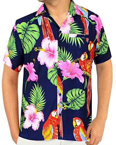La Leela Strand Hawaiihemd Herren XS - 5XL Kurzarm Front-Tasche Hawaii-Print Casual Button Down Hemd Navy Blau L 1888 (Navy Kleid Uniform)