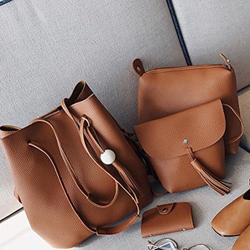 Moda Borsetta Borse Spalla, Donne Quattro Set Borsetta Borse A Quattro Pezzi Tote Bag Crossbody by Kangrunmy Marrone
