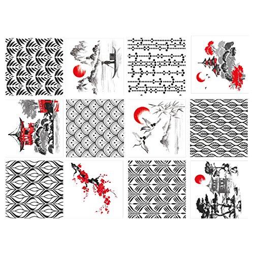 Sticker Carrelage - Carreaux de Ciment - Japanisch - 12 pièces...