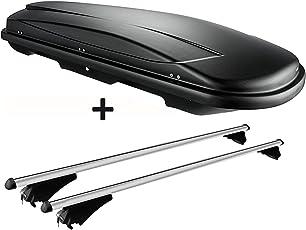 VDP Dachbox Schwarz Juxt 400 großer Dachkoffer 400 Liter abschließbar + Alu-Relingträger Dachgepäckträger für aufliegende Reling im Set für VW Passat B8 Variant ab 14