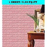 NYALKARAN PVC Foam 3D Wall Tile Sticker, 77 x 70 cm, Pink