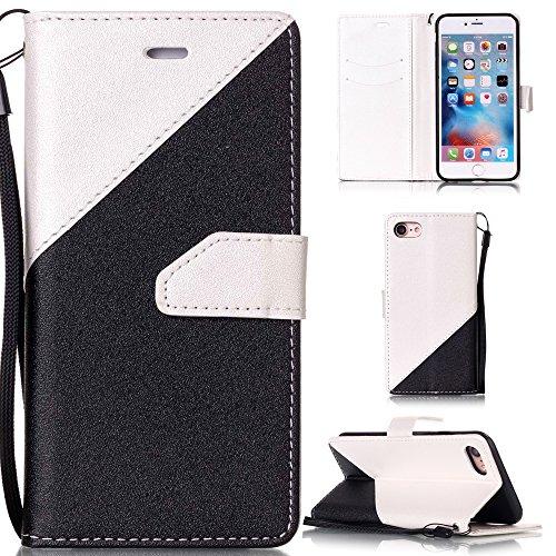 Ooboom® iPhone 5SE Coque Housse Protection Faux Cuir Flip Cover Étui Wallet Case avec Supporter Fermeture Aimantée Titulaire de La Carte de Crédit - Or Noir Blanc Noir