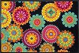 Fußmatte / Schmutzabstreifer / Fussmatte Fussabstreifer Sauberlaufmatte / Türfußmatte / Fußabstreifer / Fußabtreter / Türmatte / Motivfußmatte / Fußmatte / Schmutzfangmatte / Fußmatte Fußmatte witzige Schmutzabstreifer Motivfußmatte - Flower Power - schwarz - bunte Blumen - wash+dry -waschbar - Grösse 50 x 75 cm