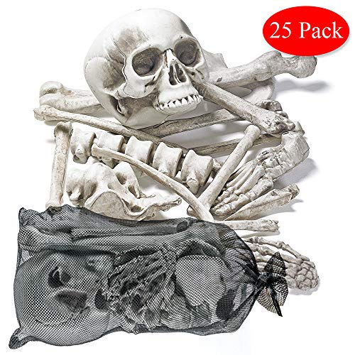 THE TWIDDLERS Halloween Saisonale Dekoration Tasche mit 25 gruseligen Knochen - Perfekt für Halloween Party deko Feiern - Ideal für Party Requisiten