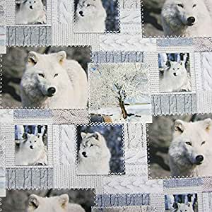 Tissu :  coton impression loup imprimé patchwork blanc/gris