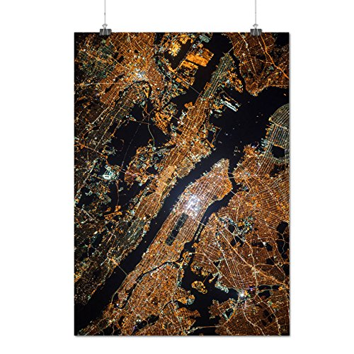 NYC Manhattan Karte Mode Nacht Stadt Mattes/Glänzende Plakat A3 (42cm x 30cm)   (Nyc Perücken Kostüm)