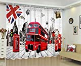 LX-curtain 3D London Bus 100% Polyester Blackout Vorhänge Blockieren 90% Sonnenlicht / Hitze Blackout / Anti-UV / Verhindern Lärm / Verhindern Strahlung / Schlafzimmer Wohnzimmer Dekoration Jalousien , 142*98 inch