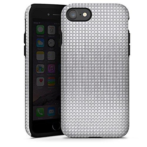 Apple iPhone X Silikon Hülle Case Schutzhülle Silber Muster Vierecke Tough Case glänzend