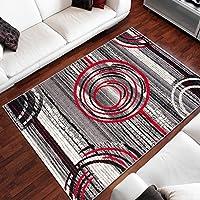 Tapiso Alfombra De Salón Moderna – Color Gris Rojo Diseño Círculos – Varias Dimensiones S-XXXL 160 x 220 cm