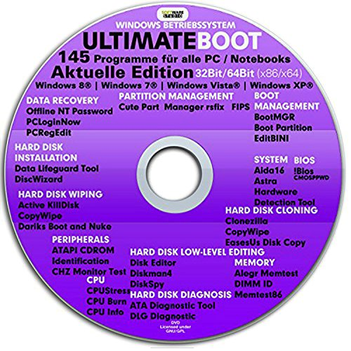 Ultimate Boot CD-DVD Notfall- CD DVD für Windows 10 , Windows 8, win7,Vista, XP Betriebssysteme System-Diagnose Tools