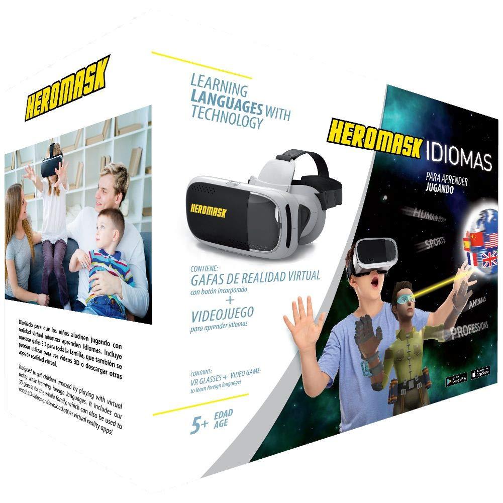 Casque VR Enfant + Jeux Educatif: Apprendre L'Anglais, L'Espagnol, L'Allemand… [ Cadeau Original ]. Jouet Fille et Garcon 5 6 7 8 9 10 11 12 Ans