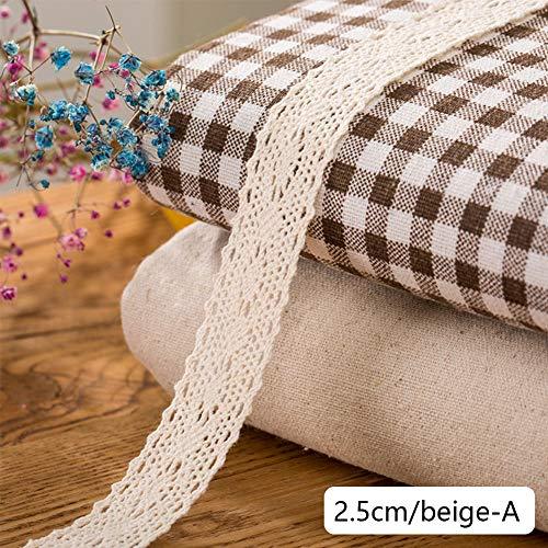 DAHI Spitzenband beige 26 Meter Baumwolle Dekoband -2.5cm Vintage Spitzenborte Häkel-Borte für Basteln Nähen Hochzeit Deko Scrapbooking Geschenkbox (beige-A) - Beige Borte