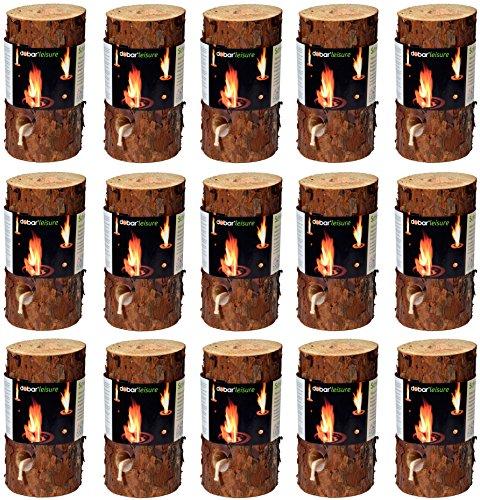 *dobar 35133 Feuerstellenzubehör Brennstoffe Holz Stimmungsvolles Schwedenfeuer, Baumfackel, 15 Stück, 11-15cm Durchmesser, 20cm hoch, braun*