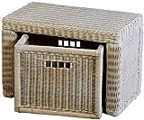 Stabile Sitzbank Flur aus echtem Rattan / Bad-Hocker Sitz-Bank Natur-Rattan / schmales Bett Bänkchen Schlafzimmer mit Korb Box zur Aufbewahrung Stauraum (Vintage Weiss, 60cm mit Schub)