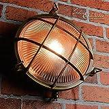 Wandlampe Außen Antik Echt-Messing Rostfrei E27 Riffelglas Käfigschirm IP64 Feuchtraumleuchte Außenleuchte Haus - 2
