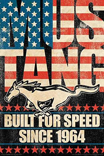 AQUARIUS Ford Mustang Built for Speed Poster Print, 24 by 36-Inch