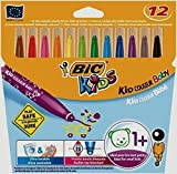 Bic Kid Couleur Baby - Pack de 12 rotuladores de colores infantil con tinta lavable, colores varios