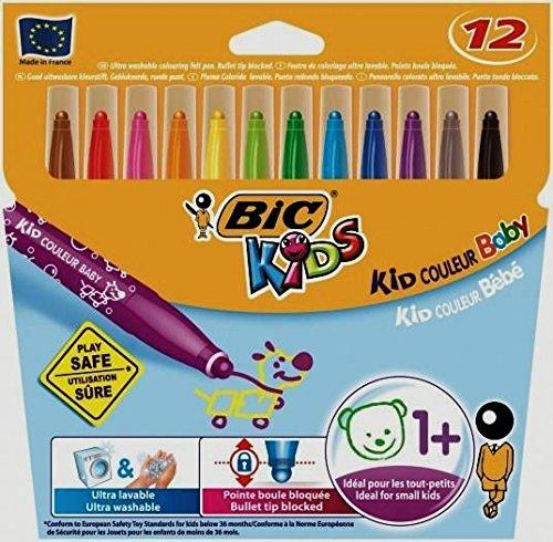 Bic Kid Couleur Baby – Pack de 12 rotuladores de colores infantil con tinta lavable, colores varios