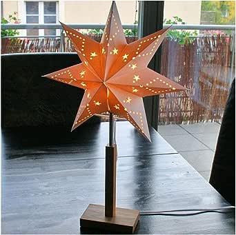 Papierstern auf Ständer Standleuchte Stern weiß Fuß Edelstahl EEK A+ bis E