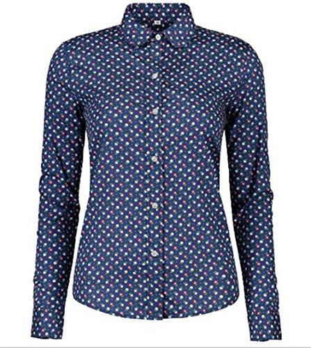 AILIENT Donna Camicetta a Maniche Lunga Bluse Maglia Stampato Maculato Camicia Elegante Tops T-shirt Casual Blue