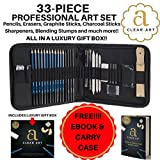 Art Set, Sketching & Drawing Kit for professional or amateur artists, 33-piece set - Pencils, Graphite, Charcoal, Erasers, Sharpeners, essential tools and supplies, comes boxed. FREE ORIGINAL EBOOK! - Clear Art Products - amazon.co.uk