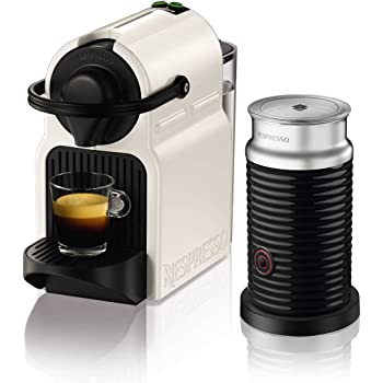Nespresso Inissia White Coffee Capsule Machine with Aeroccino3 Milk Frother by KRUPS