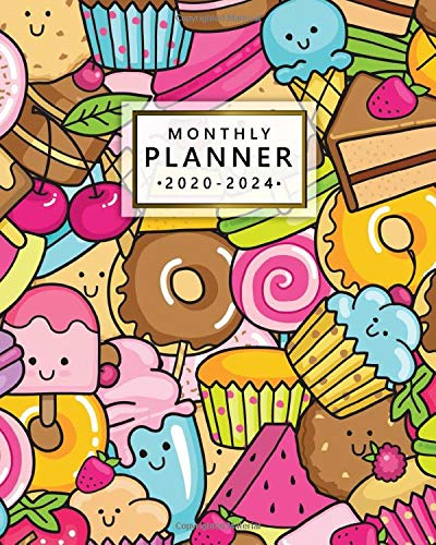2020-2024 Monthly Planner: Five Year Monthly Agenda & 5 Year Organizer | 60 Months Spread View with To-Do's, Inspirational Quotes, Vision Boards, Notes & More | Nifty Cartoon Donut & Ice Cream Pattern (Cartoon-board)
