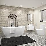 1830 x 710 mm Designer Freestanding Bath Suite Close Coupled Toilet Wall Hung Vanity Unit Basin Sink WC Bathroom